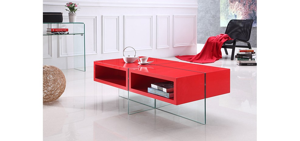 table basse en verre et bois rouge achetez nos tables. Black Bedroom Furniture Sets. Home Design Ideas