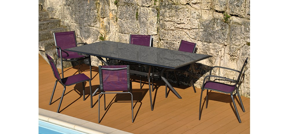 table de jardin 240 cm wallis grise achetez nos tables. Black Bedroom Furniture Sets. Home Design Ideas
