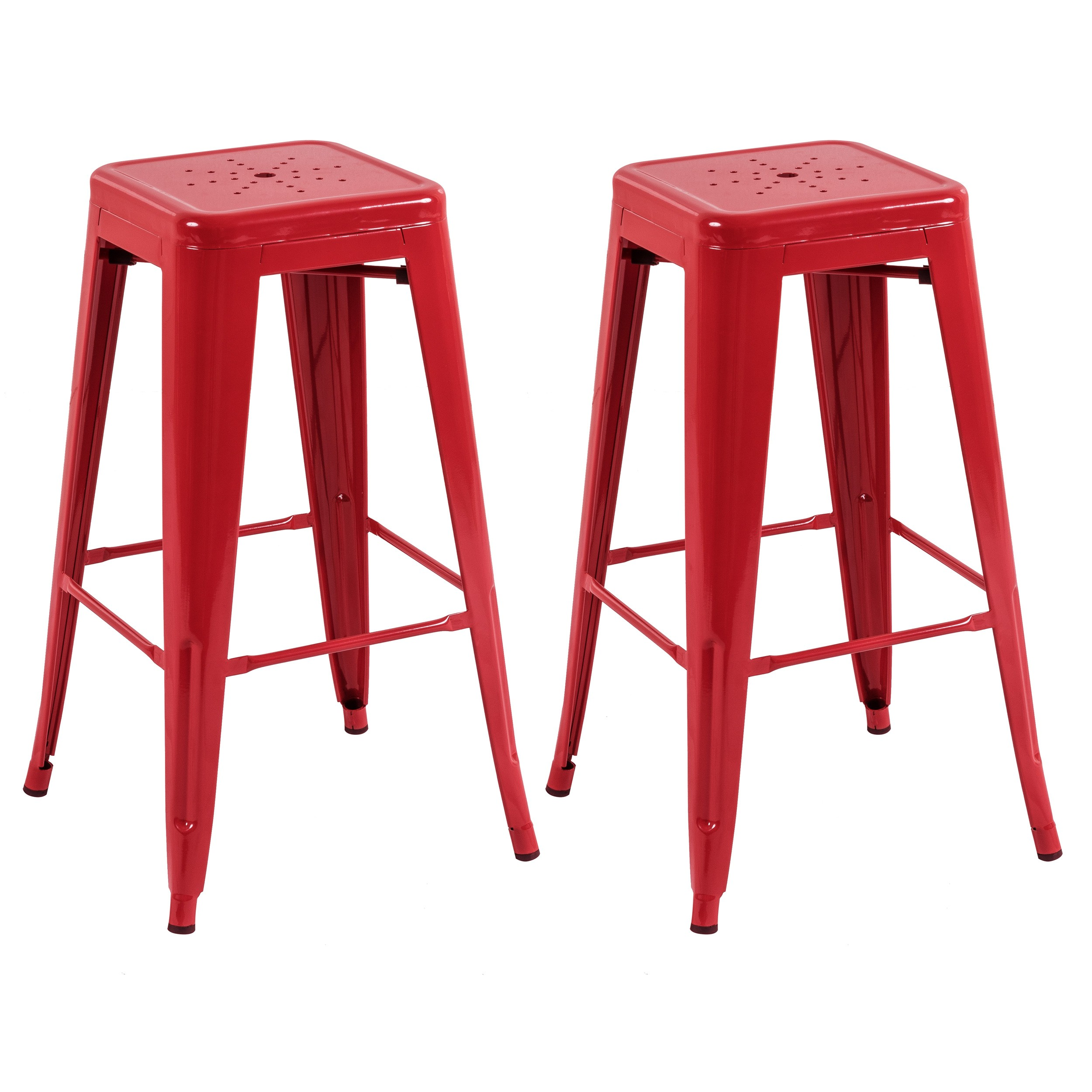 tabouret de bar indus rouge lot de 2 commandez les tabourets de bar indus rouges rdv d co. Black Bedroom Furniture Sets. Home Design Ideas
