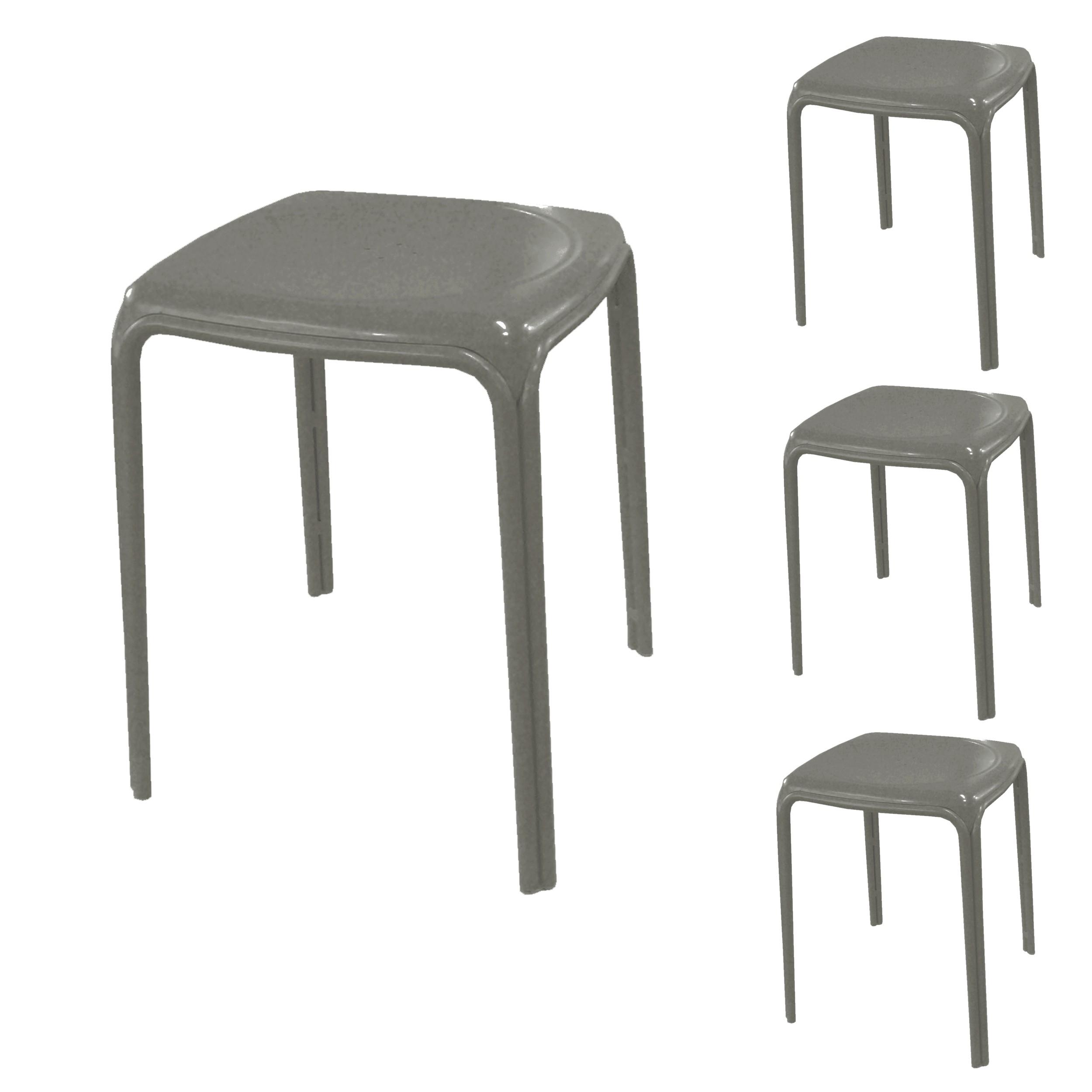 Tabouret de jardin azuro taupe lot de 4 d couvrez nos for Lot 4 chaises taupe