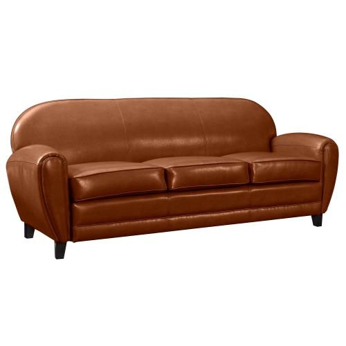 achat canapé cuir design marron