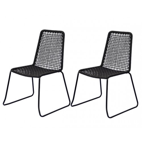 achat chaise en corde tressee lot de 2 gris noir