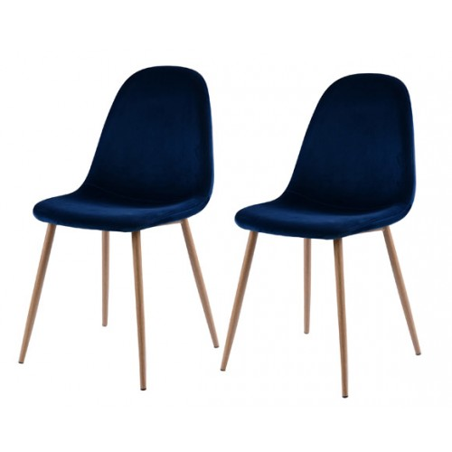 achat chaise en velours bleu lot de 2