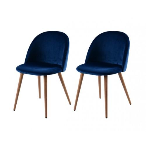 achat chaises en velours bleu