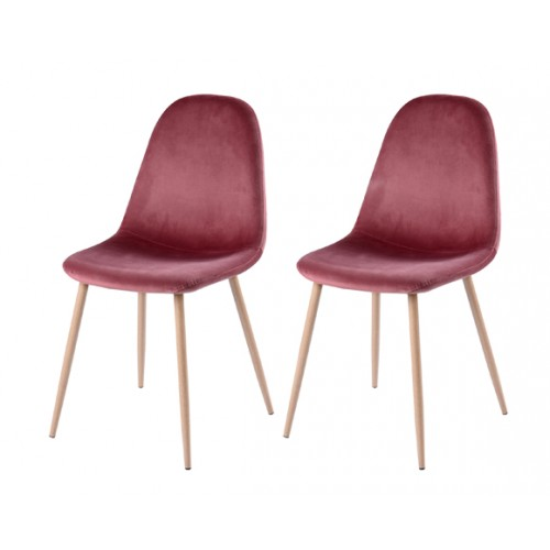 achat chaise en velours rose lot de 2