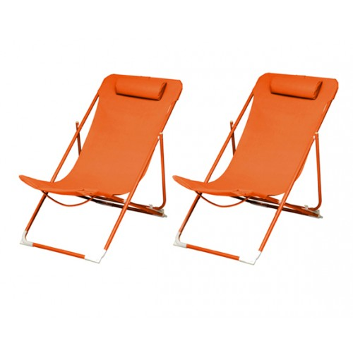 achat chaise longue orange
