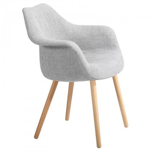 achat chaise tissu gris pieds bois