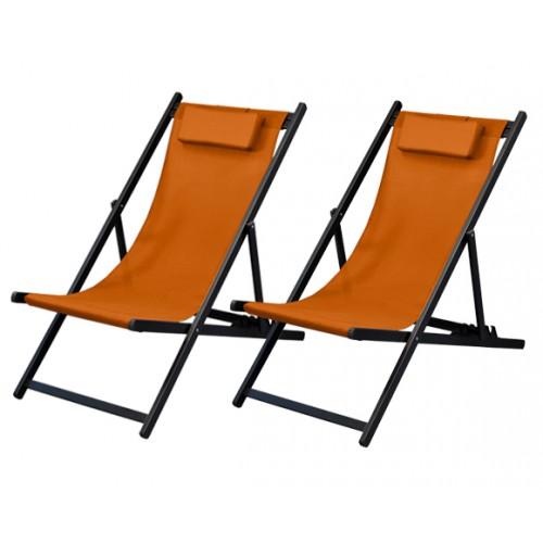 achat chaises longues orange