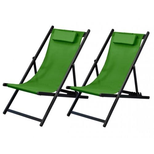 achat chaises longues vertes