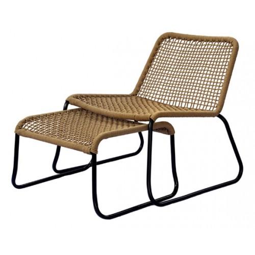 achat fauteuil corde tressee beige avec repose pieds