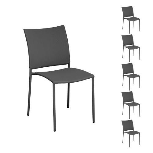 achat lot de 6 chaises grises jardin