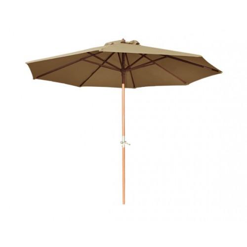 achat parasol taupe bois manivelle pas cher