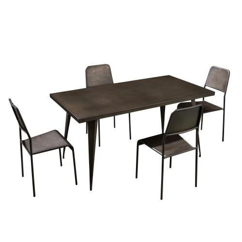 achat table de repas bronze metal