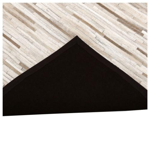 achat tapis design cuir beige
