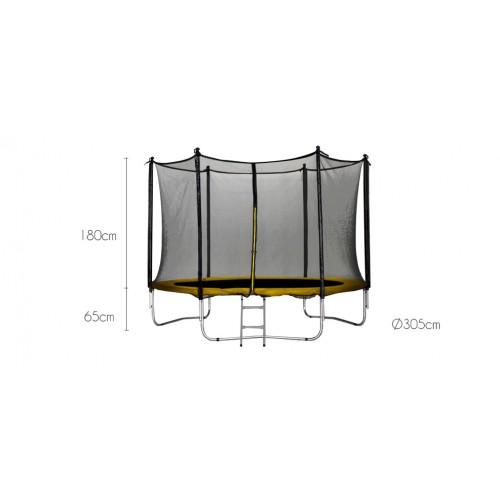 achat trampoline jaune avec filet petit prix