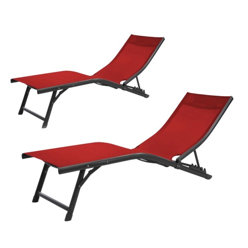 achat transat rouge design confort toile