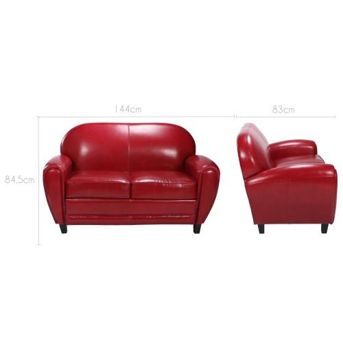 acheter canapé club confort cuir rouge