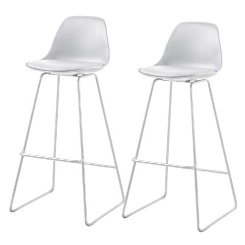 Chaise de bar Kalmar blanche (lot de 2)