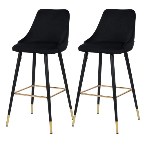 Chaise de bar Aristote en velours noir (lot de 2)