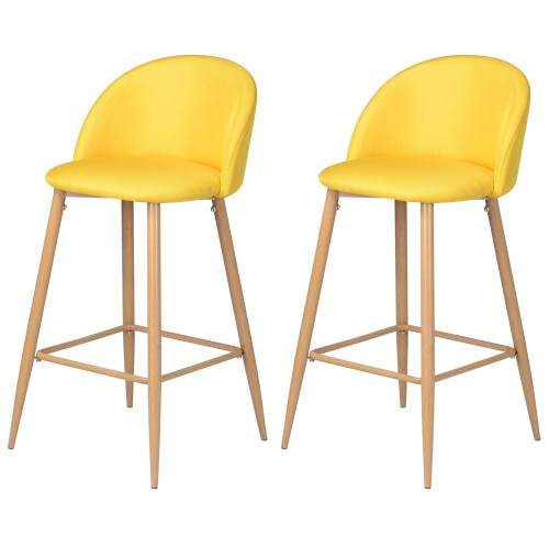 Chaise de bar Cozy jaune (lot de 2)