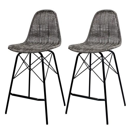Chaise de bar Tiptur en résine tressée grise (lot de 2)