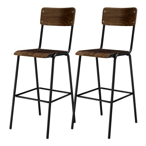 acheter chaise de bar lot de 2 bois
