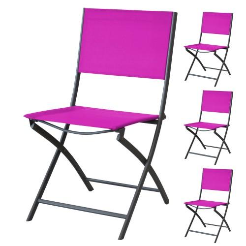 Chaise de jardin Santos pliable framboise (lot de 4)