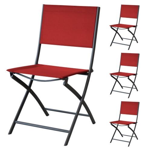 acheter chaise de jardin rouge 4
