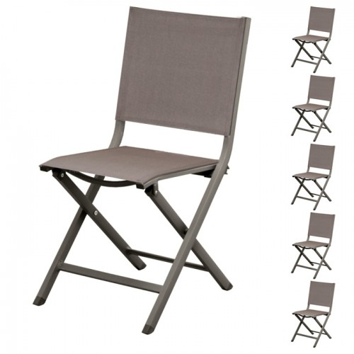 chaise de jardin terra gris fonce lot de 2