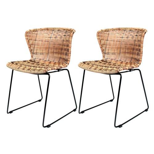 Chaise mysore en r sine tress e naturelle lot de 2 for Acheter des chaises