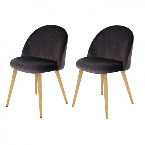 achat chaise en velours grise lot de 2