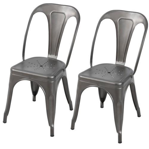 Chaise de bar Indus gris acier 66 cm (lot de 2)