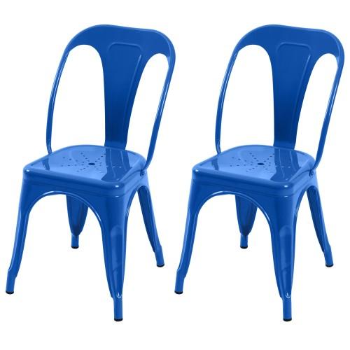 Chaise Indus bleu électrique (lot de 2)