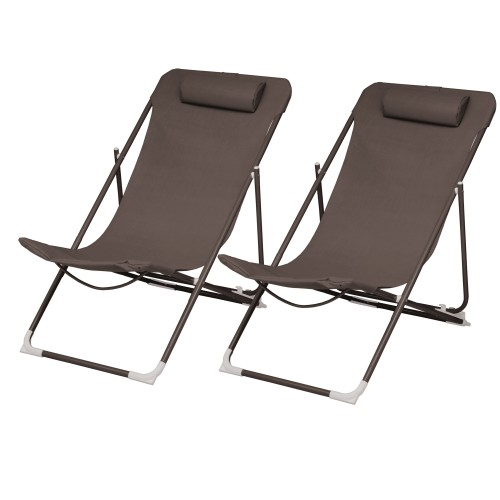 Chaise longue Almeria café (lot de 2)