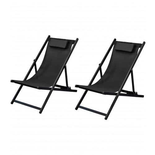 acheter chaise longue noire tissu