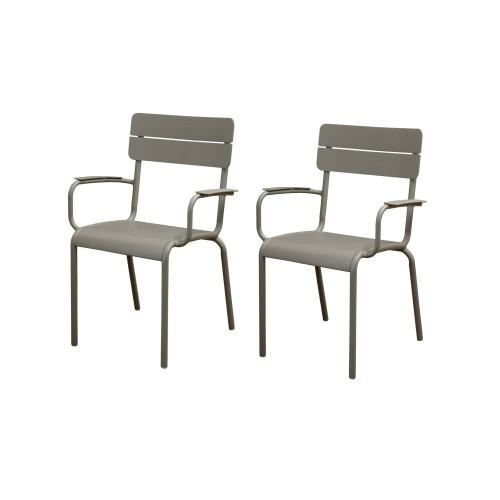 acheter chaise lot de 2 taupe jardin