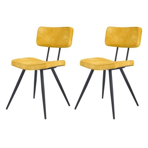acheter chaise lot de 2 jaune