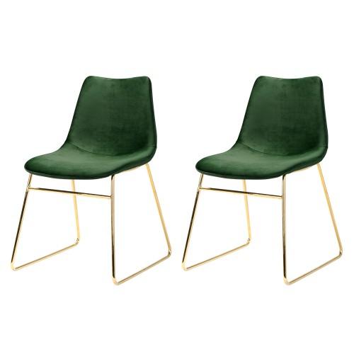 acheter chaise lot de 2 vert velours