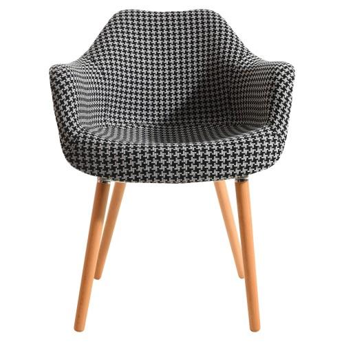 acheter chaise motif tissu et pieds bois