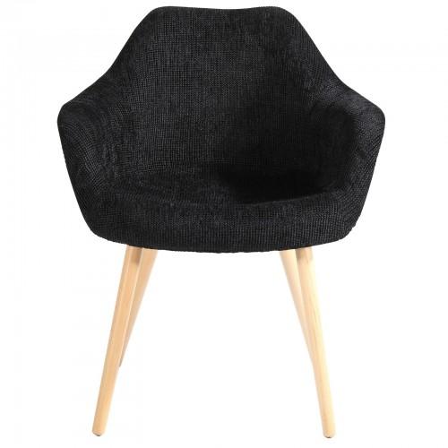 chaise tissu noir prix bas