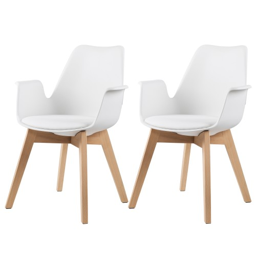 Chaise nordique blanche avec accoudoir lot de 2 for Chaise nordique