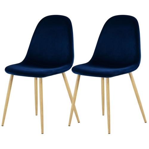 acheter chaise scandinave bleue velours