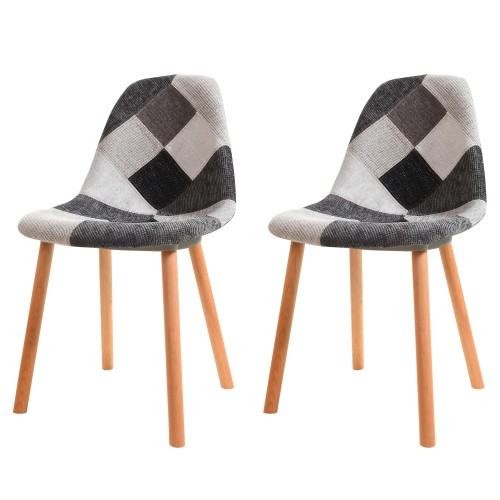 chaise arctik patchwork grise lot de 2 choisissez nos chaises arctik patchwork grises lot. Black Bedroom Furniture Sets. Home Design Ideas