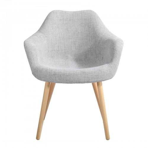 acheter chaise tissu gris pied bois
