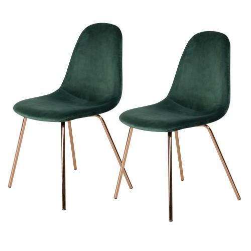 Chaise Skuli en velours vert (lot de 2)