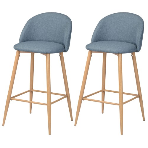 acheter chaises de bar en tissu bleu
