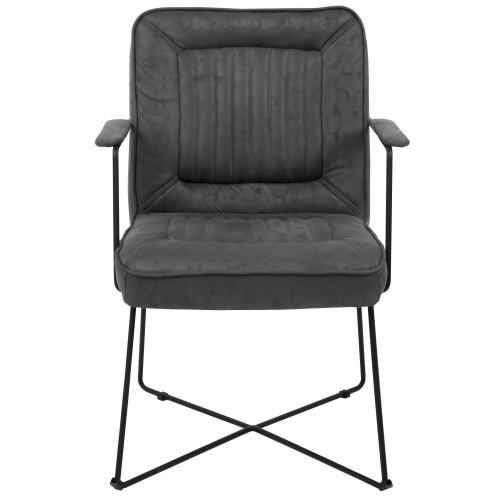 acheter fauteuil accoudoirs noir effet vieilli