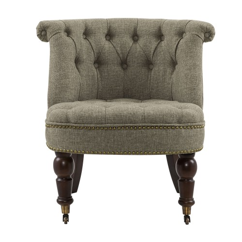 Fauteuil Crapaud capitonné taupe