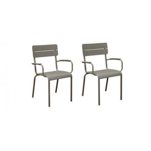 acheter fauteuil de jardin metal taupe pas cher