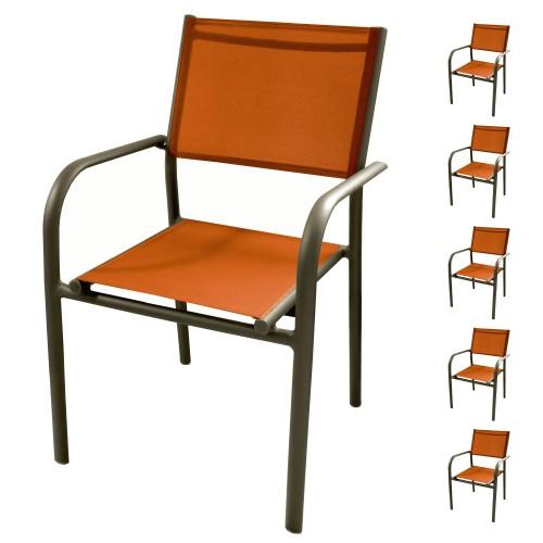 acheter fauteuil de jardin orange toile
